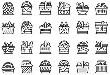 Picnic Basket Icons Set. Outline Set Of Picnic Basket Vector Icons For Web Design Isolated On White Background