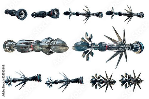 Collage of spaceship instances isolated on white Fototapet