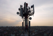 Telecommunication Tower Of 4G And 5G Cellular. Base Station Or Base Transceiver Station. Wireless Communication Antenna Transmitter. Telecommunication Tower With Antennas Against Blue Sky.