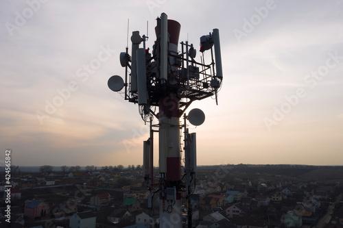 Telecommunication tower of 4G and 5G cellular Tapéta, Fotótapéta