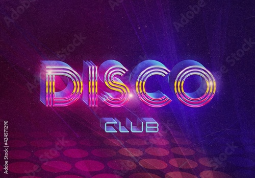 Obraz Retro 3D Disco Text Effect Mockup - fototapety do salonu