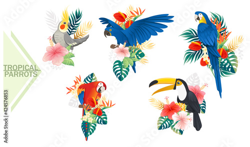 Fotografering Set of exotic parrot birds with red flowers and green tropical leaves cartoon an