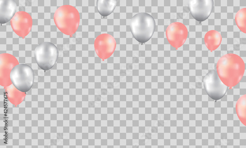 Foto Happy Birthday background with illustrations balloon