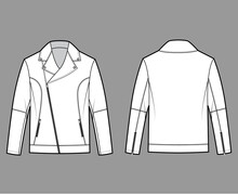 Zip-up Biker Jacket Technical Fashion Illustration With Oversized, Zip Front Fold-over Lapels Collar, Long Sleeves, Moto Details. Flat Coat Template Back White Color Style. Women Unisex Top CAD Mockup