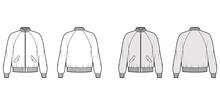 Zip-up Bomber Ma-1 Flight Jacket Technical Fashion Illustration With Rib Baseball Collar, Raglan Sleeves, Flap Pockets. Flat Coat Template Front, Back White Grey Color. Women Men Unisex Top CAD Mockup