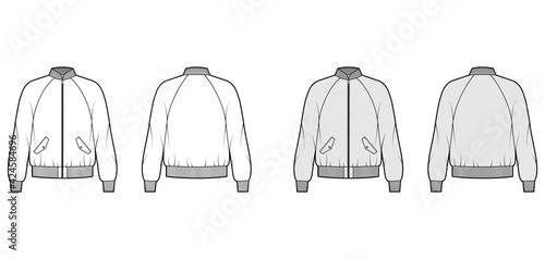 Fotografija Zip-up Bomber ma-1 flight jacket technical fashion illustration with Rib baseball collar, raglan sleeves, flap pockets