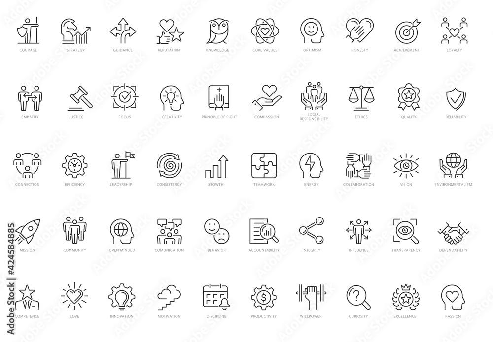 Fototapeta Core Values Line Icon Set