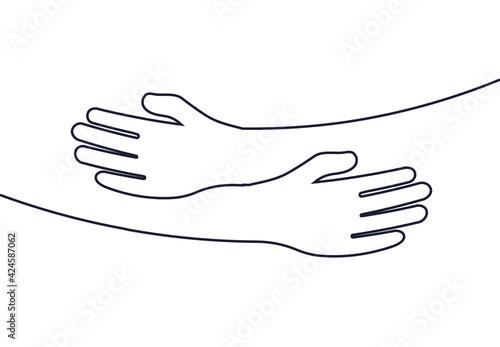 Embrace icon, arms hugging vector illustration, hands hug linear vector logo template Fototapet