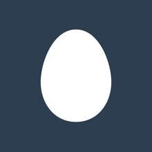 Flat White Egg Icon Shape, Isolated On Black Background