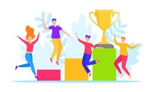 Success People Win Trophy, Vector Illustration. Cartoon Man Woman Character Winner, Happy Victory In Competition Achievement.