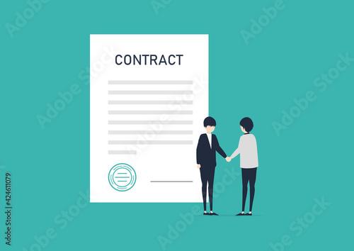 契約書の前で握手する2人の男性のイラスト素材