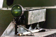Military Equipment Of The Second World War. Headlight On A WWII Tank. Spotlight In A Protective Color.