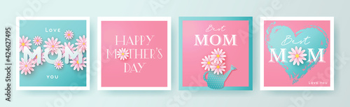 Photo Set of Mother's Day greeting cards with paper cut flowers, hand drawn heart and typography
