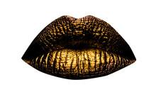 Golden Lips Closeup. Gold Metal Lip. Beautiful Makeup. Golden Lip Gloss On Beauty Female Mouth, Closeup. Mouth Icon.