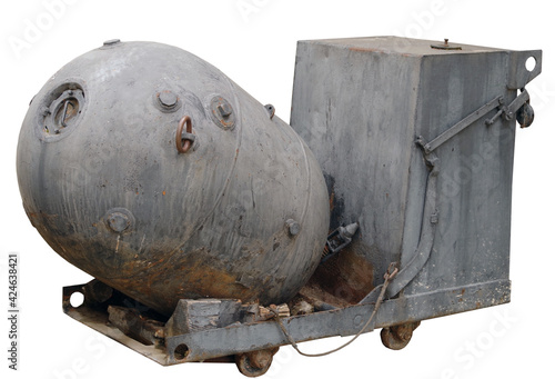 Fototapeta naval mine from the second world war over a white