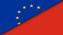 Old Myanmar And European Union Flat Flag - Double Flag