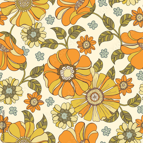 Photo Colorful Large Scale Hand-Drawn Floral Vector Seamless Pattern