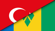 Saint Vincent And The Grenadines And Turkey Flat Flag - Double Flag