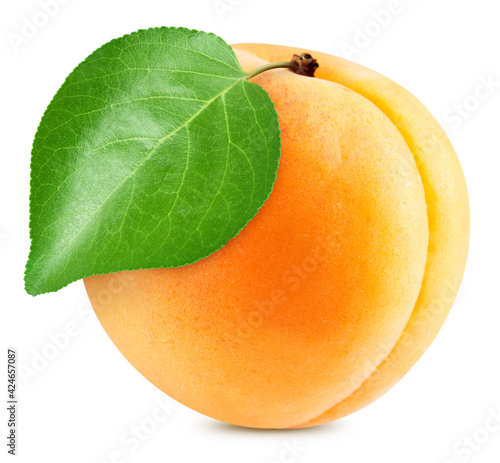 Apricot with apricot leaves isolated Fotobehang