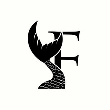Logo Letter F With Icon Fish Tail Vector Design