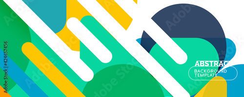 Foto Flat geometric round shapes and dynamic lines, abstract background
