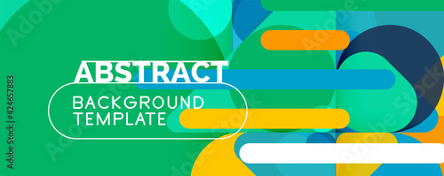 Fototapeta Modern geometric round shapes and dynamic lines, abstract background. Vector illustration for placards, brochures, posters and banners obraz