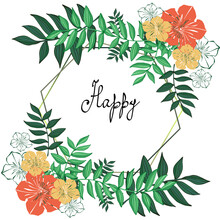 Flower Card On A White Background