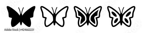 Fotografie, Obraz Butterfly vector icon