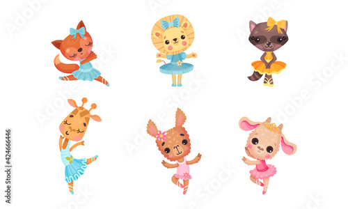 Obraz Cute Mammals with Sheep and Lion in Ballerina Dress and Bow on Head Dancing Vector Set - fototapety do salonu