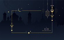 Eid Mubarak Festival Greeting Background Design Template