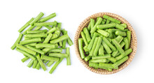 Slice Long Beans In Basket Isolated On White Background