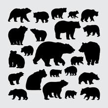Bear Silhouette. A Set Of Bear Silhouettes