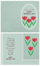 Happy Mother's Day With Love And Gratitude Postcard Template With A Fold In The Middle For Printing. Greeting Card With Front And Back Design With Paper Tulips, Lace And Knitted Background Pattern