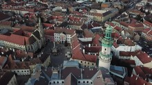 Cinematic Aerial Drone Shot Of The Charming Quaint Historical Fire Tower, Downtown Of Sopron, A Major Tourist Destination In Győr-Moson-Sopron County, Western Transdanubia In Norhwestern Hungary