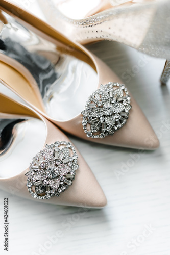 Tela socks of shoes with a brooch and rhinestones