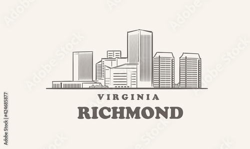 Fotografia Richmond skyline, virginia drawn sketch big city