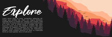 Explore Forest Mountain Flat Design Vector Banner Template Good For Web Banner, Ads Banner, Tourism Banner, Wallpaper, Background Template, And Adventure Design Backdrop