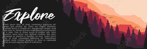 Cuadros en Lienzo explore forest mountain flat design vector banner template good for web banner,