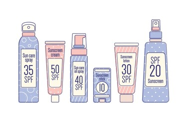 Tubes and bottles of sunscreen products with different SPF levels in line art style. Set of anti-UV cream, lotion, spray and stick. Colored flat vector illustration isolated on white background