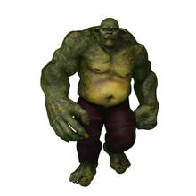 3D Rendering Of An Enormous Green Ogre Walking.