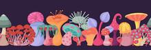 Fantasy Alien Mushroom Seamless Border. Fantastic Concept Art For Decorative Design.