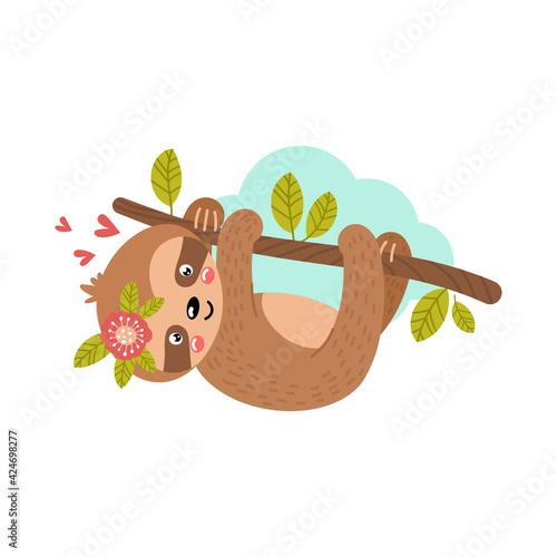 Fototapeta premium Baby sloth hanging on a branch. Vector illustration.
