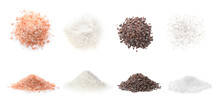 Set With Different Kinds Of Salt On White Background. Banner Design