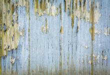 Corrugated Iron Pattern, Rusty And Distressed Paint, UK