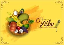 Happy Vishu Greetings. April 14 Kerala Festival With Vishu Kani, Vishu Flower Fruits And Vegetables In A Bronze Vessel. Vector Illustration Design