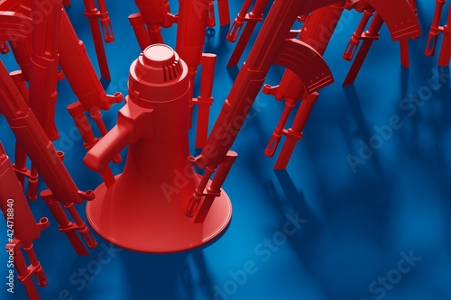 Stampa su Tela Red Megaphone stab by bayonet knife with military gun 3D rendering, Protest agai