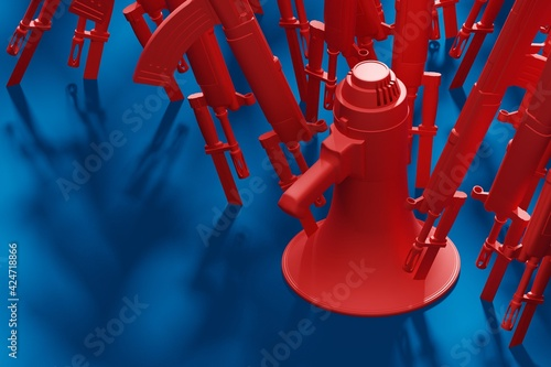 Red Megaphone stab by bayonet knife with military gun 3D rendering, Protest agai Fototapet