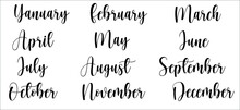 January. February, March, April, May, June, July, August, September, November, October, December. Stickers For Stationery. Bullet Journal, Planner, Diary. Black Words, Isolated On Background. Vector.