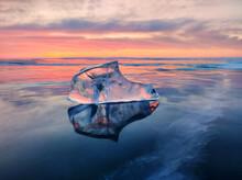 Landscape, Sunset On Frozen Lake Baikal, Ice Floe In The Foreground