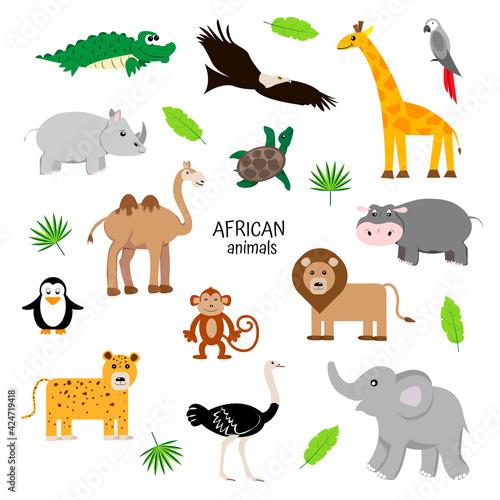 Fototapeta premium african animals set . Zoology for children. Camel, elephant, rhino, crocodile, parrot, hippo, jaguar, penguin, turtle, ostrich, eagle.